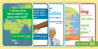 Nelson Mandela Simple Inspiring Quotes Display Posters - Black History, President, South Africa, Prisoner, Mandela Day