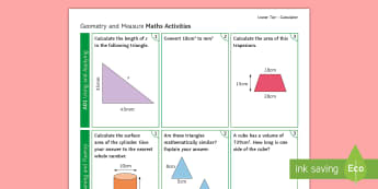 Foundation: Geometry and Measure (Calculator) Activity Mat - using applying, reasoning fluency, problem solving, maths, GCSE, Revision