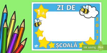 1 Zi de școală Ramă decupabilă  - septembrie, clasa albinuțelor, decorul clasei, cadouri elevi, surprize, activități,Romanian