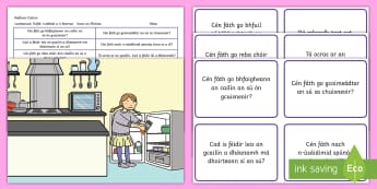 Kitchen Scene Blanks Level 4 Questions Gaeilge - gaeilge, receptive language, expressive language, verbal reasoning, language delay, language disorder, comprehension, autism