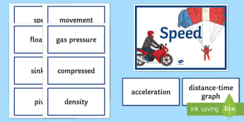 Speed and Pressure Word Wall - Word Wall, Speed, Pressure, Acceleration, Density, Floating, Distance