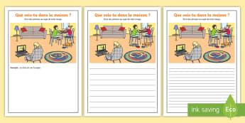 Supports imagés pour la production d'écrits : À la maison-French - écriture, écrire, français, cycle 2, cycle 3
