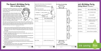 The Queen's Birthday Party:  Who Is Sitting Where? Maths Puzzle Activity Sheet - Upper Key Stage Two, Upper Key Stage 2, UKS2 The Queen's Birthday (21st April 2017), maths, logic,