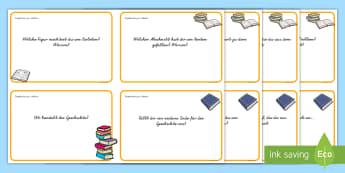 Lektüre Fragekarten - Lesen, Fragen, Buch, Bücher, Druckschrift, Schreibschrift, ,German