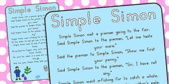 Simple Simon Nursery Rhyme Poster - australia, simon, rhyme