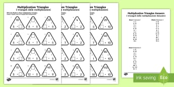 Multiplication Triangles Activity Sheet 2 to 12 Times Tables English/Italian - multiplication triangles, times table, times tables,mulitplication,multipication,multiplicaion,mulip