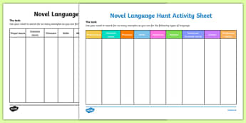 Novel Language Hunt Activity Sheet-Irish, worksheet