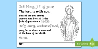 ROI   The Feast of The Immaculate Conception Of The Blessed Virgin Mary  Hail Mary Colouring page Colouring Page-Irish - ROI - The Feast of The Immaculate Conception Of The Blessed Virgin Mary, hail mary