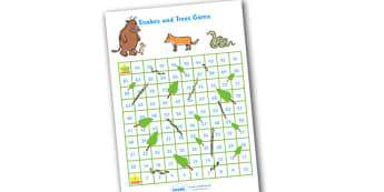Snakes and Trees Activity - the gruffalo, the gruffalo themed snakes and ladders, snakes and ladders, snakes and trees, gruffalo game, storybook game
