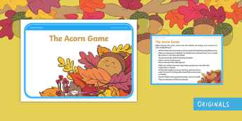 The Acorn Game Cards - twinkl originals, fiction, game, P.E, cool down, Physical Development, Oak, Autumn.