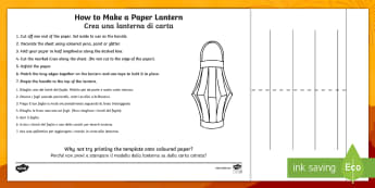 How to Make a Paper Lantern Craft Instruction Sheets English/Italian - making, your own, make, craft, chinese new year, chinese new year lantern, new year lantern, chinese