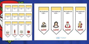 Editable Bookmarks (Tudors) - Tudors, Bookmark, bookmark template, gift,  present, book, reward, achievement, England, history, Tudor Age, Henry VIII
