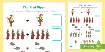 The Pied Piper Addition Sheet - the pied piper, addition sheet, addition, addition worksheet, the pied piper worksheet, the pied piper addition, numeracy