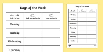 Days of the Week Practice Writing Worksheet - week days, write, weekday