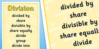 Division Vocabulary Poster - division vocabulary, division posters, division vocabulary posters, vocabulary posters, maths posters, division display