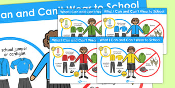 What I Can and Cant Wear to School Girls Poster - school, poster