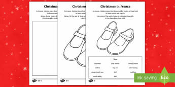 KS1 Christmas in France Differentiated Activity Sheets - Christmas, Nativity, Jesus, xmas, Xmas, Father Christmas, Santa, St Nic, Saint Nicholas, traditions,
