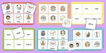 Zestaw do gry Bingo Cześci ciała - noga, ręka, ucho, oko, planszówka, słownictwo, buzia, zabawa