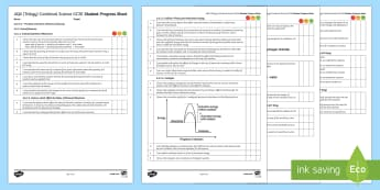 AQA (Trilogy) Unit 5.6 The Rate and Extent of Chemical Change Student Progress Sheet