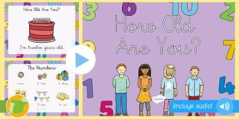 Presentación con audio: La edad y los números - Inglés - número, tortas, velas, cumpleaños,años,