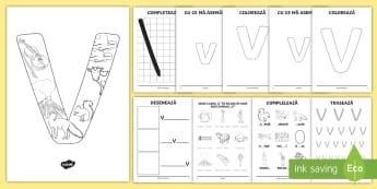 Consolidarea literei V Broșură - alfabetul, alfabetar, litere, sunete, grafisme,Romanian