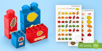 Autumn Leaves Colour Matching Connecting Bricks Game - EYFS, Early Years, KS1, Duplo, Lego, Plastic Bricks, Building Bricks, Seasons, colours, colour match