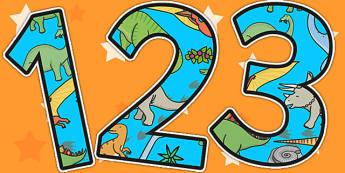 Dinosaur Themed Display Numbers - dinosaurs, numbers, display