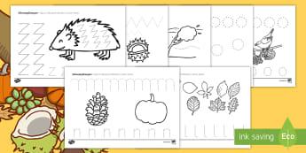 Herbstliche Arbeitsblatt Erstes Schreiben: Schwungübungen - Schreibschrift, nachspuren, nachschreiben, Herbst, Herbstblätter, Igel, schreiben lernen, erstes Sc
