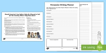 America\'s Cup Persuasive Writing Activity Sheet - America's Cup, Sailing, Sailors, Racing, Sports, Team new Zealand