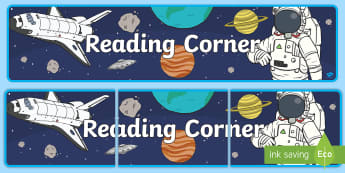 Space-Themed Reading Corner Display Banner - reading area, book area, book corner, books, reading, library, reading corner, space, aliens, astron