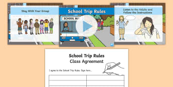 School Trip Rules PowerPoint -  School Trip Rules PowerPoint - school trip, rules, rules, trips, health and safety, agreement, cont
