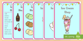 Ice Cream Shop Menu Display Posters - ice cream, ice cream shop, role play, menu, role-play, posters, display