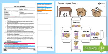 EYFS Roll that Dice! Adult Input Plan and Resource Pack - EYFS, Uses Positional Language, 30-50 months, Early Years, EYFS Planning, Adult Led, SSM, Space Shap
