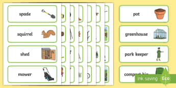 Garden Centre and Park Keeper Word Cards - garden centre and park, keeper, garden, park, word cards, cards, flashcards, spade, squirrel, shed, mower