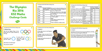 The Olympics Rio 2016  LKS2 Maths Challenge Cards