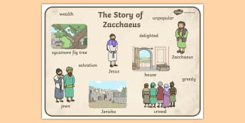Zacchaeus the Tax Collector Bible Story Word Mat - mats, visual