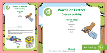 Words and Letters Outdoor Activity - P.B.L., play-based learning, Outdoors, Water, zone, wet, area, words, letters, Language and Literacy