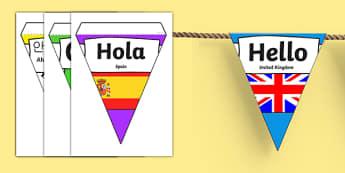 Mixed Languages Hello Bunting - hello bunting, hello in different languages, hello in different languages bunting, languages bunting, greetings bunting