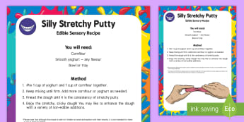 Silly Putty Edible Sensory Recipe - EYFS Houses and Homes, my environment, sticky, silly putty, messy play
