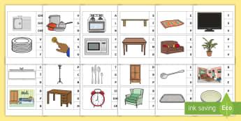 Marcheză litera corespunzătoare primului sunet: Obiecte din casă Activitate - sunet și litera, comunicare, litere, litere de tipar, activități, jocuri, fonetică,Romanian