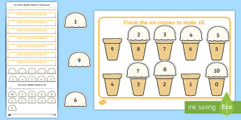 Workstation Pack: Ice Cream Number Bonds to 10 Activity - TEACCH, workstation, autism, ASD, maths, number bonds, independent work