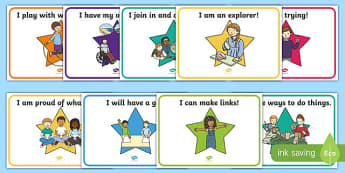 Star-Themed Characteristics of Effective Learning Display Posters - early years assessment, EYFS, characteristics, effective learning