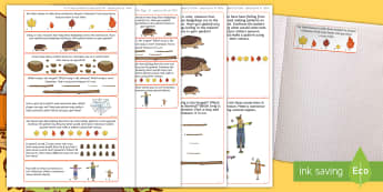 Autumn Themed Maths Challenge Sticky Avery Labels - Maths, Problems, Word Problems, KS1, Stickers, Key Stage One, Scenario, seasons, Challenges