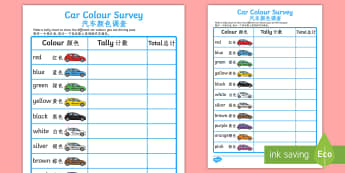Car Colour Survey Activity - English/Mandarin Chinese - Car Colour Survey - traffic, car colour, colour, cars, survey, how many cars, red, black, green, whi