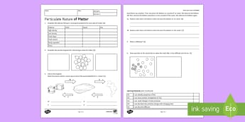 Particulate Nature of Matter Homework Activity Sheet - Homework, matter, states of matter, changes of state, solid, liquid, gas, melting, freezing, condens