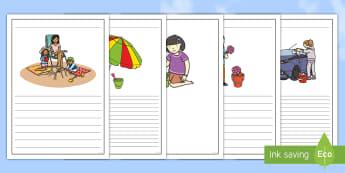 Summer Holiday Bucket List Writing Frames - sun, beach, template, lines, write,