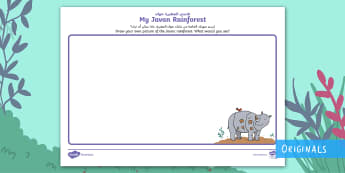 My Javan Rainforest Picture Activity Sheet Arabic/English - Ronald the Rhino, KS1, EYFS, Geography, Habitat, Rainforests, worksheet, EAL, Arabic.,Arabic-transla