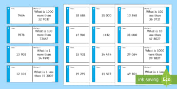 Finding More or Less Differentiated Loop Cards - number, place value, 10, 1, 100, 1000, greater, smaller