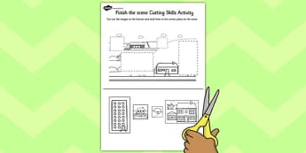 Houses and Homes Finish the Scene Cutting Skills Activity Sheet Pack, worksheet