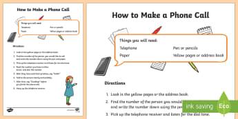 How To Make A Telephone Call Procedure Writing Sample - Literacy, australian curriculum, How To Make A Telephone Call Procedure  Writing Sample, writing, re